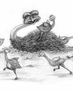 Ostrich-Mama